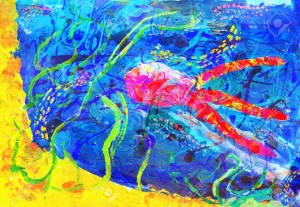 "Child's abstract artwork - ""Underwater world"""
